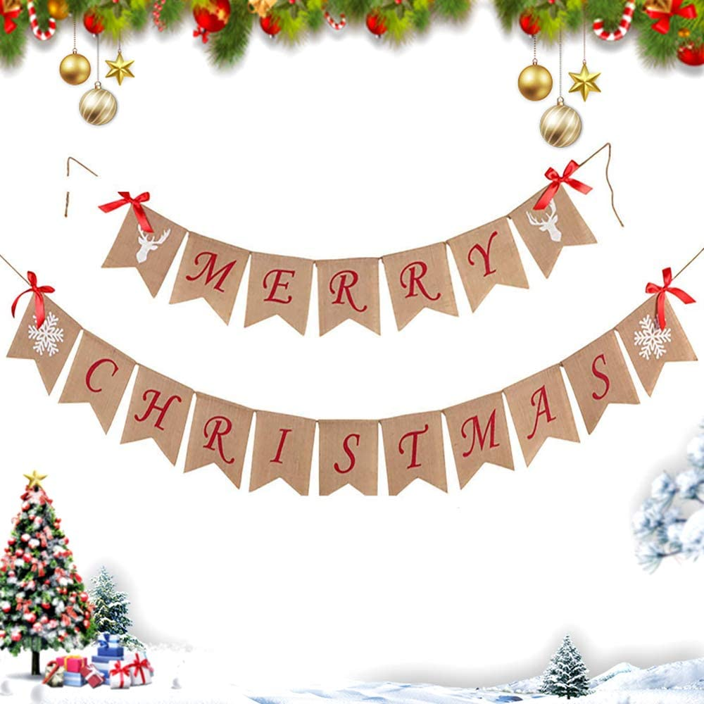 Merry Christmas Banner Decoration with Snowflake Reindeer Bow Ribbons Xmas Garlands Burlap Sign for Holiday Christmas Home Decoration Mantel Fireplace Hanging Decor
