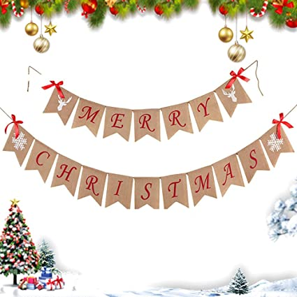 Home Xmas Holiday Decoration for Mantel Fireplace Hanging Decor indoor outdoor Standard Merry Christmas Decoration Banner Burlap