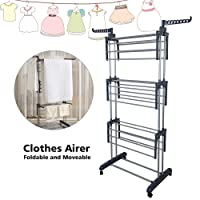 TopHomer Washing Clothes Folding Horse Airer Indoor Outdoor Laundry Drying Rail Rack Hanger with 2 Hooks and Wheels