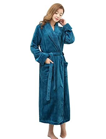 Fortuning\'s JDS Luxury Flannel Fleece Full Length Dressing Gowns For ...