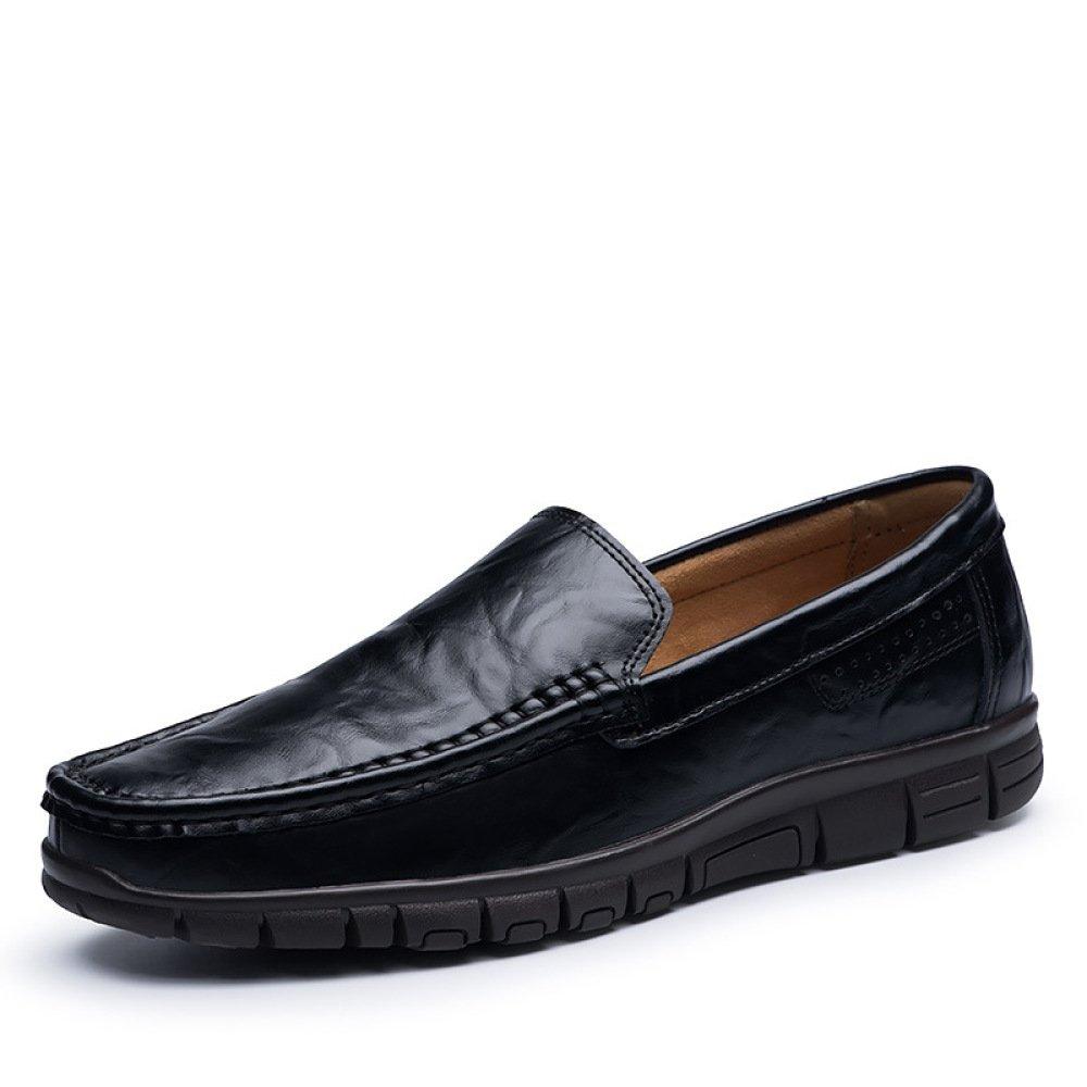 LYZGF Zapatos De Cuero De Conducción Suaves Inferiores Perezosos De Moda Juvenil De Los Hombres 46 EU|Black