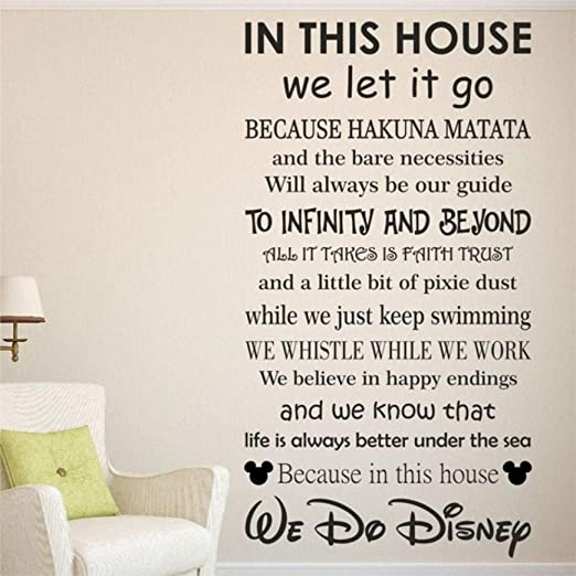 In This House Family Rules Vinyl Wall Sticker Bedroom Home Decal Art Removable