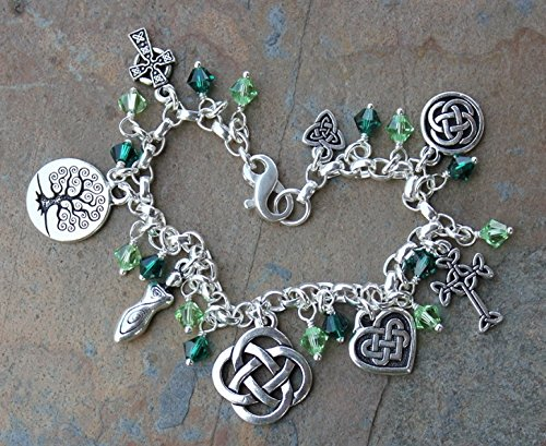 Silver Plated Deluxe Celtic Knots Charm Bracelet, Heavy Sterling Silver Chain, Green Crystals- Size XL (8.5 Inches (Extra Large)) by Night Owl Jewelry (Image #3)