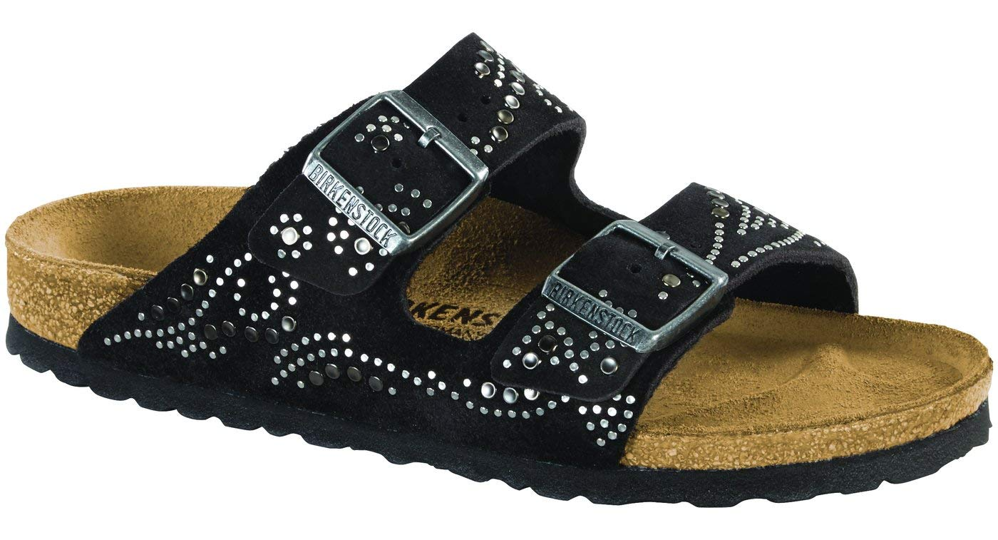 Birkenstock Women's Arizona Rivets Sandal Injected Black Suede Size 38 N EU