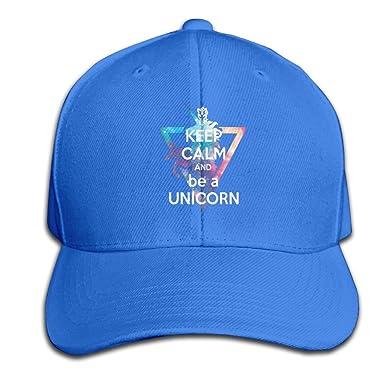 Amazon.com  Baseball Hats Keep Calm and Be A Unicorn Snapback Sandwich Cap  Adjustable Peaked Trucker Cap  Clothing 2dca7a91c5c2