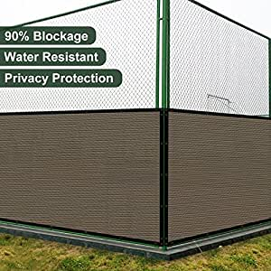 Coarbor 14'x82' Privacy Fence Screen Cover Mesh Blocker with Brass Grommets 180GSM Heavy Duty Fencing for Outdoor Back Yard Patio and Deck Backyard Garden Blocking Neighbor Brown-Customized