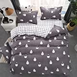 Bedding Set Hippie Pug Animal Cartoon Duvet Cover Set Flat Sheet 2 Pillowcases 4pcs/set for Kids Girls Boys Teens Cute Sheep Print Duvet Cover Home Bedclothes (Sheep, 220x240cm)