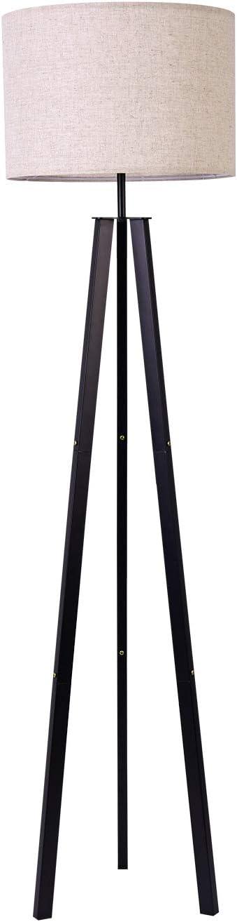 Floor Lamp Standing Lamp,Black Tripod Floor Light, Modern Design Studying Light for Living Room, Bedroom, Study Room and Office, Flaxen Lamp Shade with E26 Lamp Base