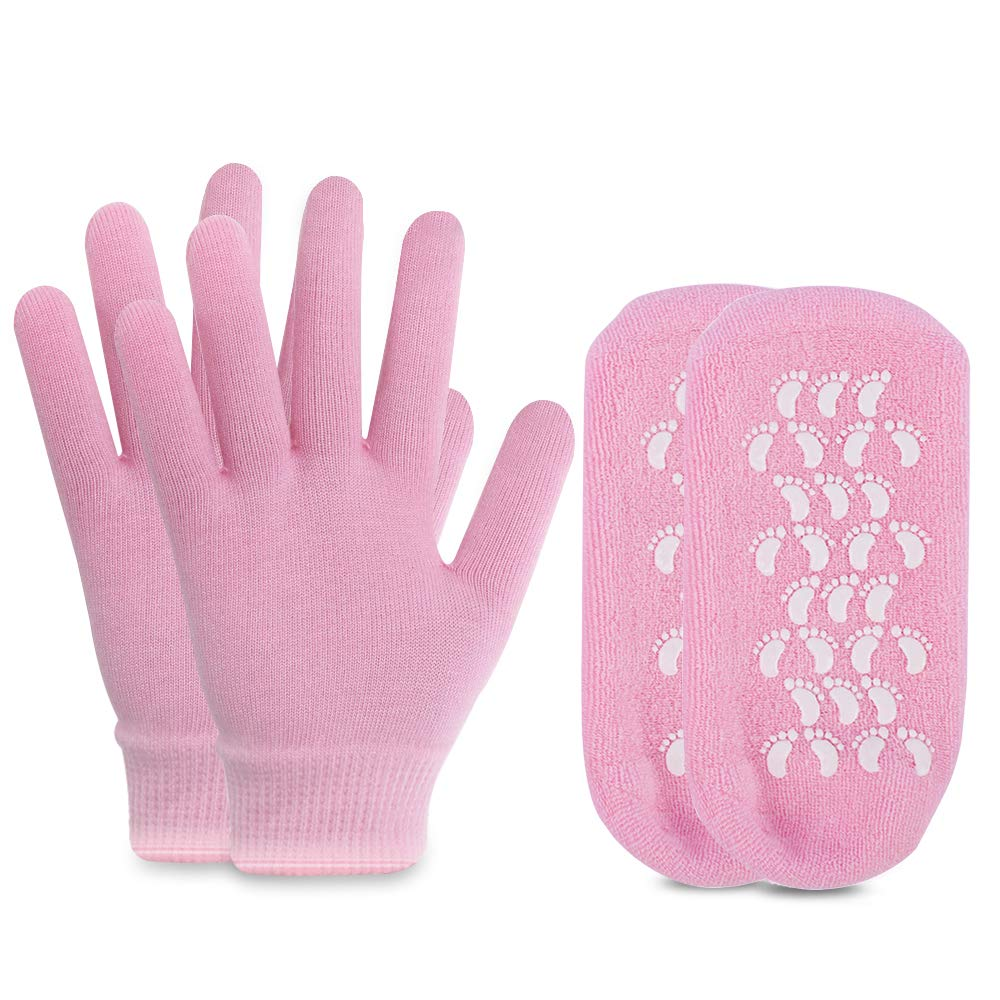 Moisturizing Socks and Gloves Set Soft Cotton with Thermoplastic Gel Repair and Heal Eczema Cracked Dry Skin, Gel Lining Infused with Essential Oils and Vitamins, Large Size for Women and Men -Pink : Beauty