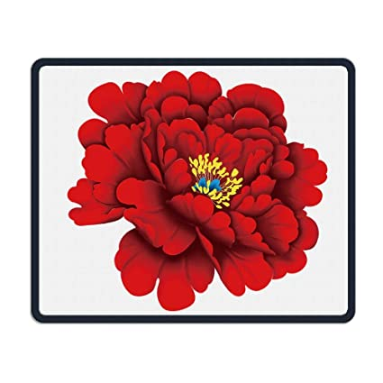 Amazon.com : Mouse Pad Chinese Red Flower Style Rectangle ...