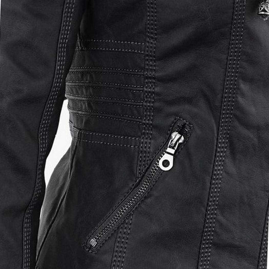 Nabsna Women Casual Hooded Long Sleeve Double Zip Jacket Coat Outwear Leather