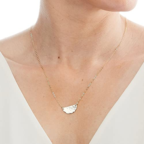 Elements Hammered and Polished Disc Necklace - Silver Silver 8n6d8tP