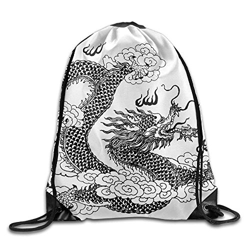 - Unisex Chinese Dragon Line Art Print Drawstring Backpack Rucksack Shoulder Bags Gym Bag Sport Bag