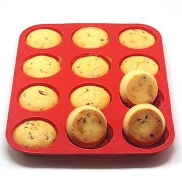 Para tartas para horno bandeja de arte - 12 tazas molde para hornear antiadherente de silicona, Gadgets de cocina reutilizable: Amazon.es: Hogar