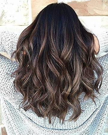 Sunny Half Wig Straight U Part Remy Human Hair Wigs Balayage 2 Dark Brown  Fading to 6 Mixed