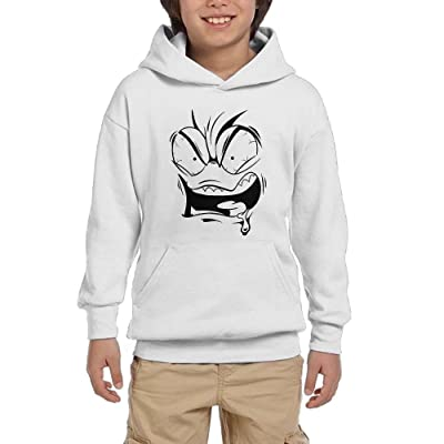 Angry Face Cartoon Teen Boys Pullover Hoodie Hip Hop Pocket Sweatsuit