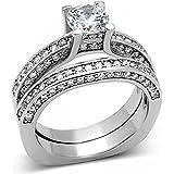 ISADY - Glenda - Damen Ring - 14 Karat (585) Weißgold platiert rhodiniert - Zirkonium Transparent