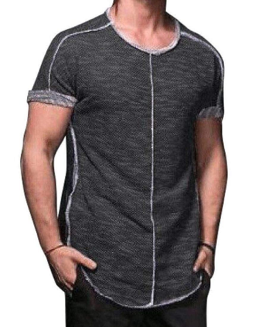 Abeaicoc Men Crew Neck Classic Stitching Curved Hem Short Sleeve T Shirts Tee