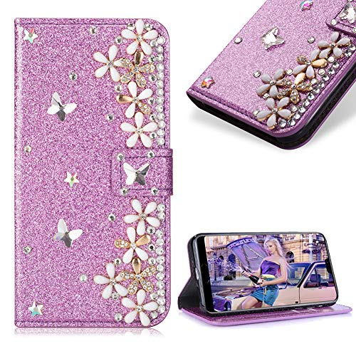 Case for Huawei P20 Lite,Cistor Luxury 3D Handmade Diamond Crystal Pearl Glitter Flower Butterfly Wallet Case for Huawei P20 Lite,PU Leather Stand Flip Case with Card Slot Magnetic Closure,Purple ()