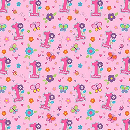 Amscan Sweet Birthday Girl Gift Wrap Paper Rolls Amazoncouk Kitchen Home