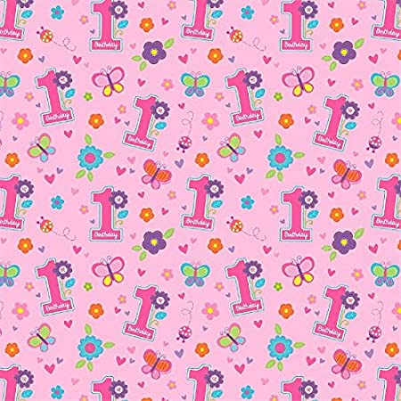 Amscan Sweet Girl First Birthday Gift Wrap