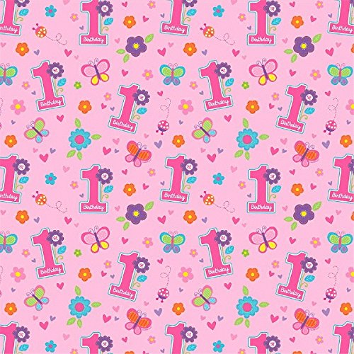 Amscan Wrapping Paper | 1st Birthday Girl | Flowers and Butterflies Collection