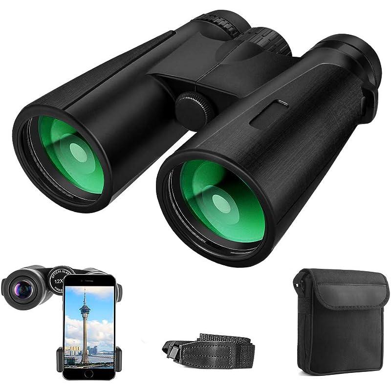 AYUTOY Prismaticos Profesionales,12x42 HD Prismaticos Vision Nocturna con Adaptador de Teléfono, Prismas BaK4 y FMC. Ideales para Observación de Aves, Senderismo, Astronomía y Camping