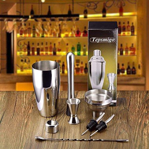 Cocktail Shaker Set Stainless Steel 6 PCS, TEPSMIGO Home Bar Cocktail Making Set Includes 24 Ounce Cocktail Shaker /10 Inch Mixing Spoon and Muddler/ Cocktail Jigger/ Liquor Pourer, Silver by TEPSMIGO (Image #5)