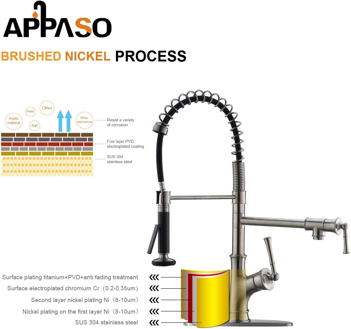 APPASO Commercial Kitchen Faucet Pull Down Sprayer and Pot Filler Stainless Steel Brushed Nickel Single Handle Spring Pre-Rinse High Arc Tall Modern Kitchen Sink Faucet with Soap Dispenser