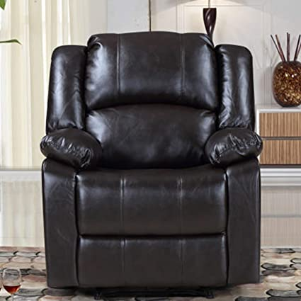 Recliner Lounge Chair Brown Faux Leather,JULYFOX 350 LB Heavy Duty Bonded  Ergonomic Recliner Sofa Chair Office Lounge Chair Steel Metal Frame ...