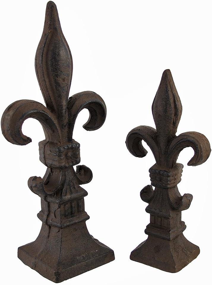 Things2Die4 Set of 2 Cast Iron Fleur de Lis Home or Garden Accents