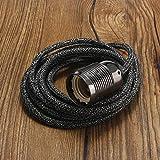 Lamp Base - E27 2M 3 Core Lamp Bases Wire Vintage Retro Edison Light Bulb Holder Fabric Flexible Cable Pendant Lampholder Socket - (Color: Black, Base Type: E27)