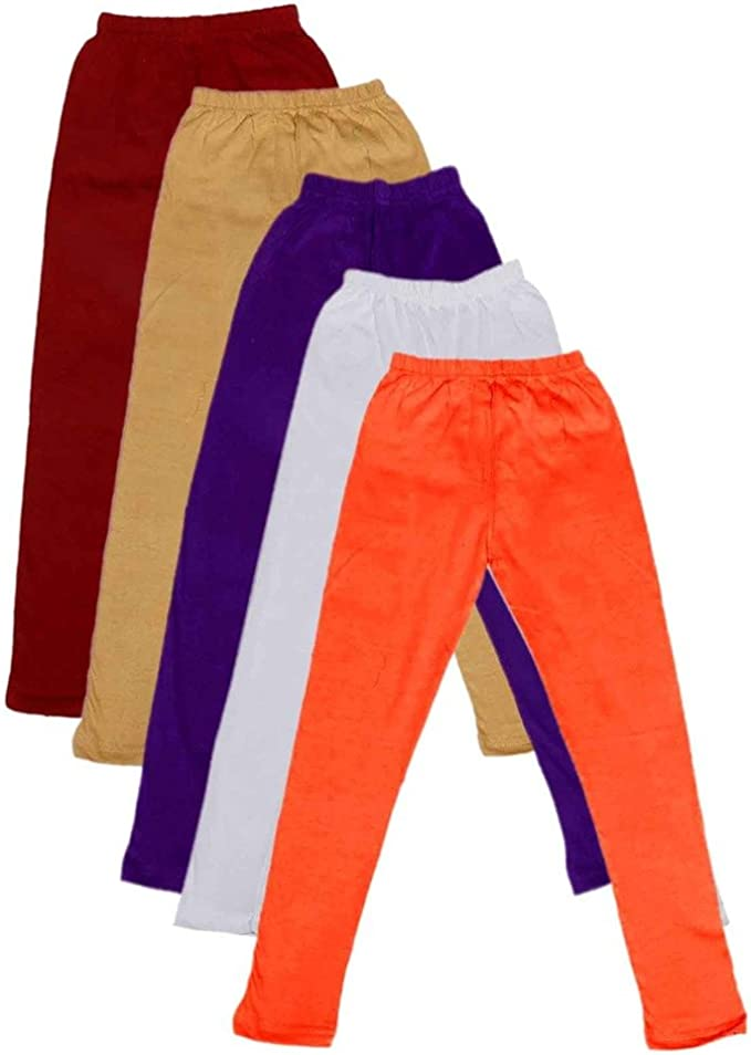 Indistar Big Girls Cotton Full Ankle Length Solid Leggings Pack of 5 -Multiple Colors-17-18 Years