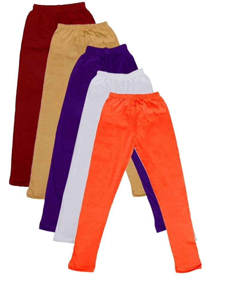 -Multiple Colors-1-3 Years Indistar Little Girls Cotton Full Ankle Length Solid Leggings Pack of 5