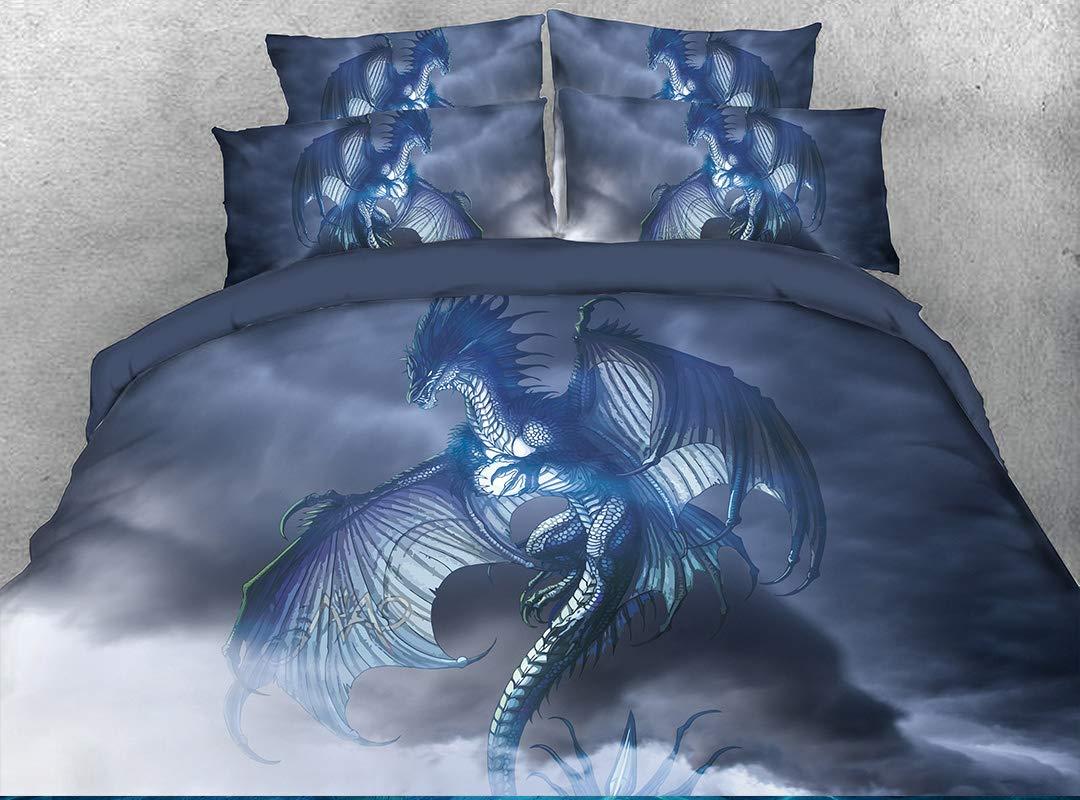 Beddinginn Unicorn Bedding Set 3D Unicorn Duvet Cover Set Light Purple Fairy Flying Horse Bed Cover Set No Comforter Queen Size Bed Set 89/×94//240/×225cm