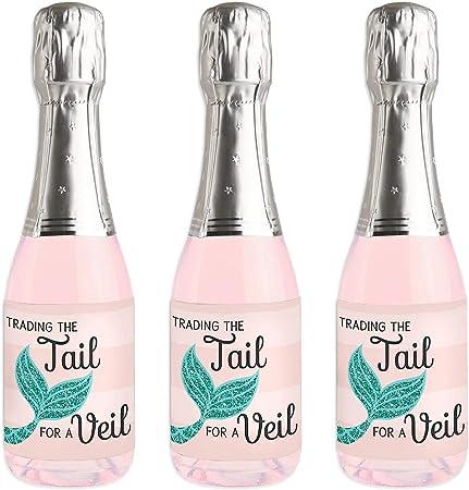 Trading The Tail For A Veil - Pegatinas para botella de vino y champán, diseño de sirena, baquelorette o regalo de novia: Amazon.es: Hogar