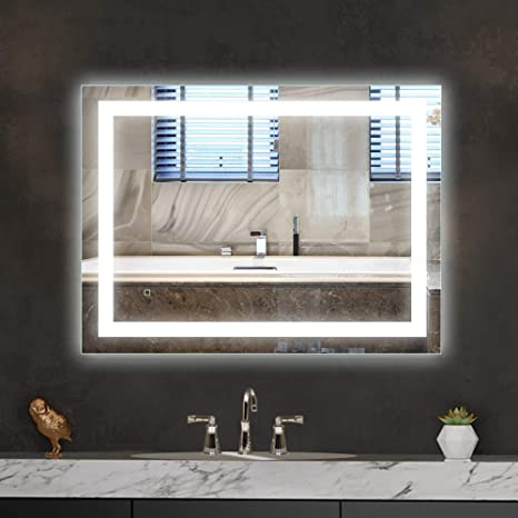 Amazon Com Hauschen Home Led Bathroom Vanity Mirror 32 X 24 Inch Wall Mounted Defogger Dimmable Touch Switch Polished Eadge Frameless 5500k Cool White 3000k Warm Cri 90 Vertical Horizontal Kitchen Dining