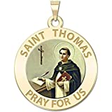 PicturesOnGold.com Saint Thomas Aquinas Religious Medal 10K And14K Yellow or White Gold, or Sterling Silver