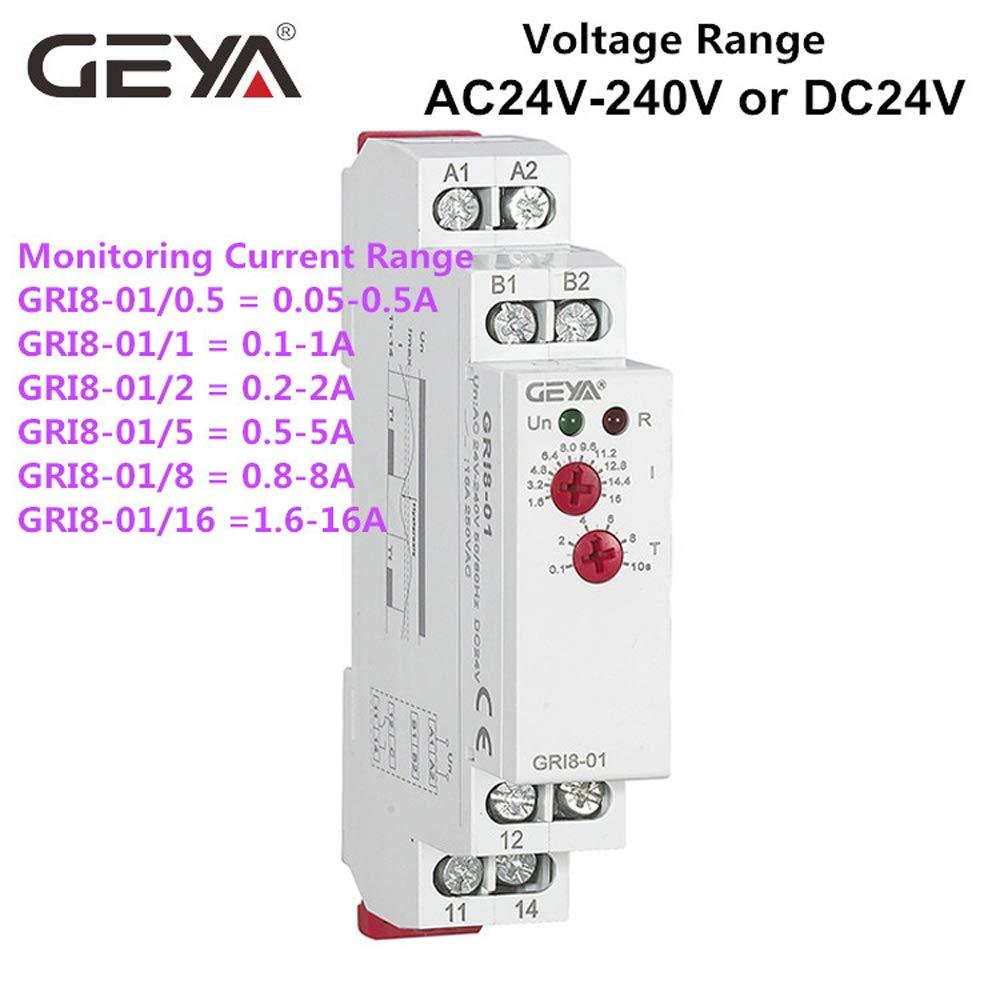 Relais de surveillance de courant Din Rail de contr/ôle industriel relais /électrique relais de protection contre le courant GRI8-01 8