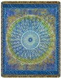 Peacock Mandala Tapestry Throw Blanket For Sale