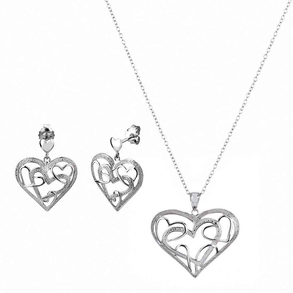 Gold and Honey 1995 G&H Sterling Silver Heart Drop & Dangle Earrings and Pendant Necklace Set