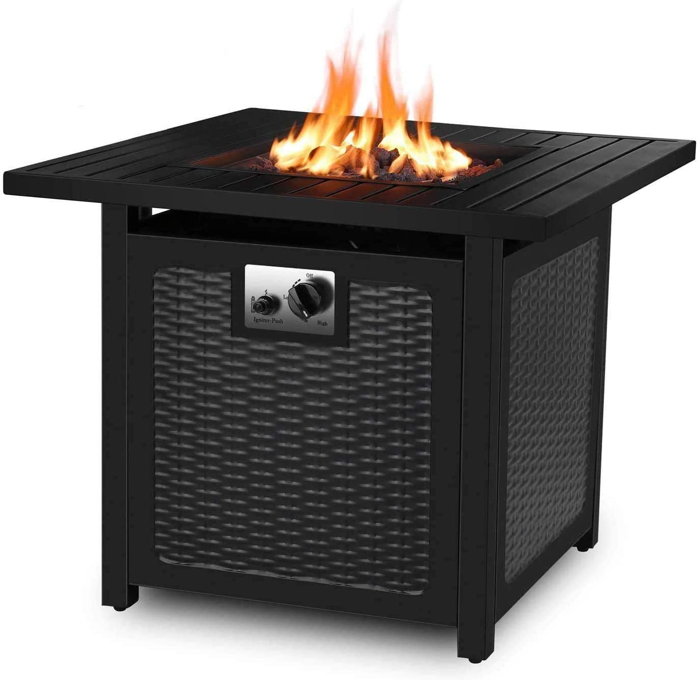 Amazon Com Femor 30 Propane Gas Fire Pit 50 000 Btu Auto Ignition Fire Bowl With Waterproof Firepit Table Cover Lava Rock Csa Certification Outdoor Square Fireplace For Courtyard Balcony Black Garden Outdoor