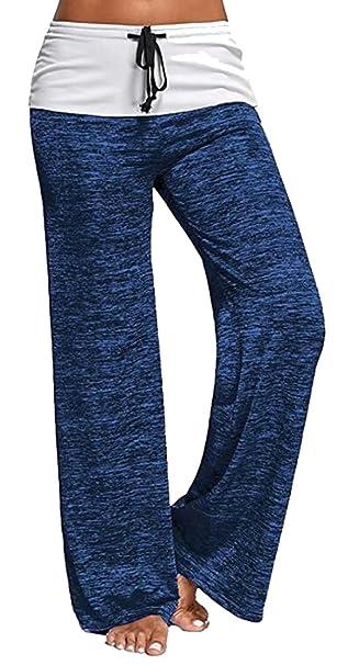 BLACKMYTH Mujer Casual Cordón Yoga Pants Pierna Ancha Suelto ...