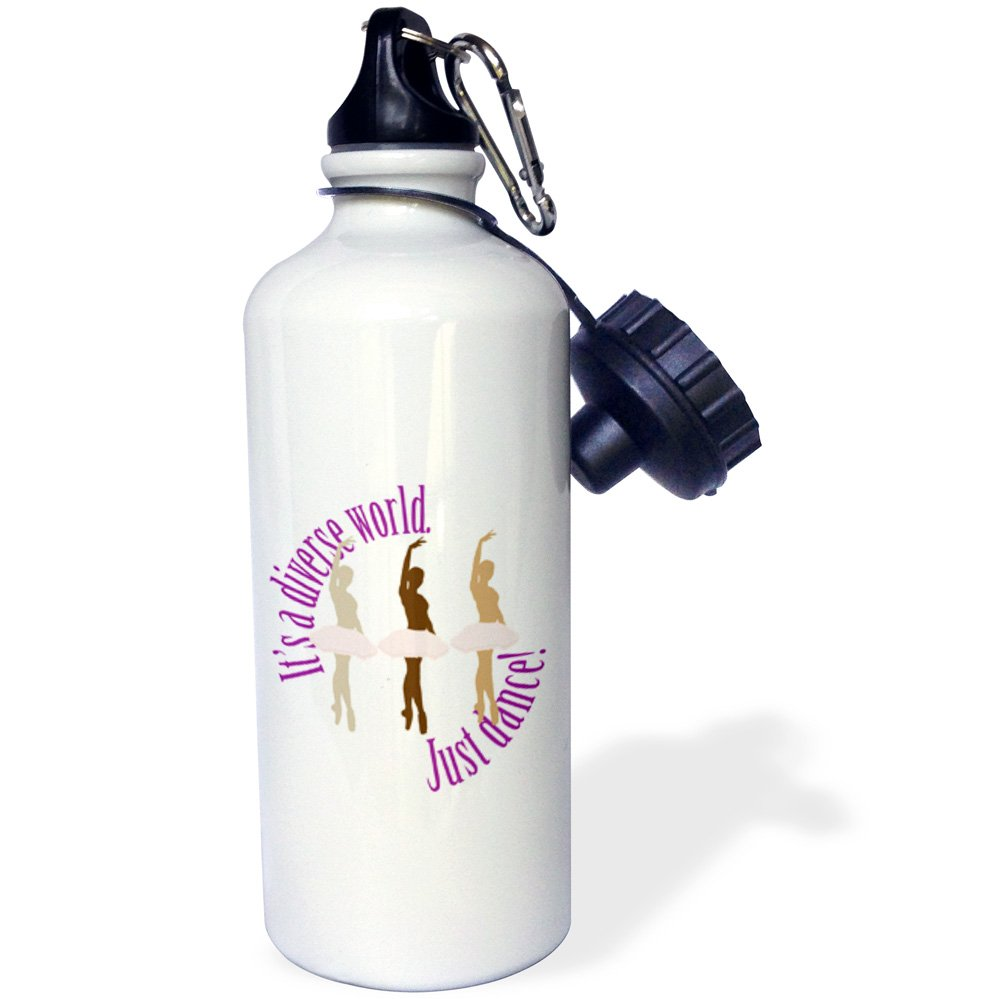 3dRose wb_219813_1 Its A Diverse World Just Dance Sports Water Bottle, Multicolor, 21 oz