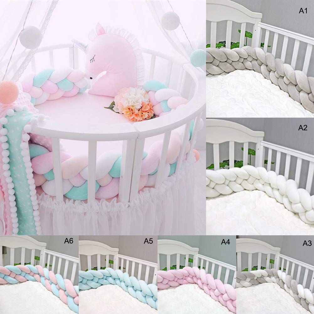 yehhad Baby Crib Bumper Plush Nursery Cradle Knotted Newborn Anti-Collision Bumper