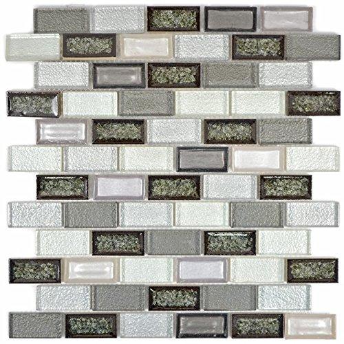 Mosaic Tile Translucent Ceramic Grey Brick Glass Mosaic Crystal Ceramic Arctic Grey for Wall Bathroom Shower Kitchen…