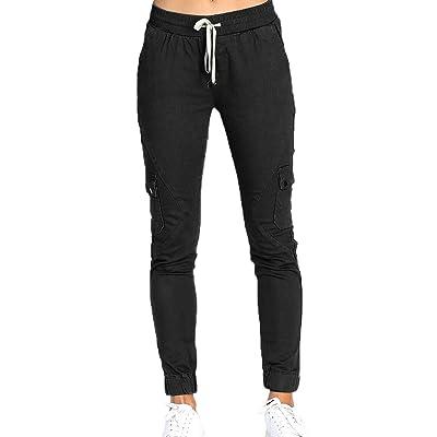 WOZNLOYE Mujeres Casual Largos Pantalones Moda Slim Pantalón de Deportiva Trotar: Ropa y accesorios