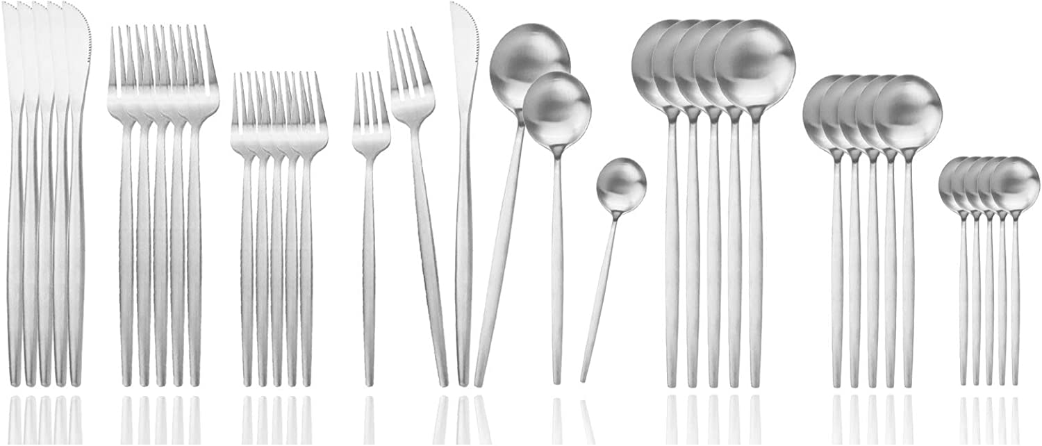 JASHII Silverware Set, 36 Piece Food Grade Stainless Steel Flatware Set Fork Spoon Knife Utensils for Daily Use and Party, Service for 6 Anti Rust, Safe in Dishwasher (Matte Silver)
