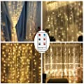 Remote Curtain String Led lights, Battery Operated 300 LED Icicle Curtain Lights, 8 Lighting Modes, UL Warm White Outdoor String Fairy Party Wedding Christmas Home Garden Decorations (9.8ft, Dimmable)
