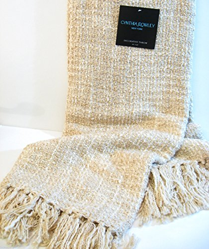 Cynthia Rowley Woven Throw Multicolored Fringed Blanket with a Gift Box (Ivory)